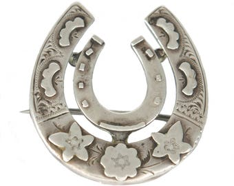 antique Victorian sterling silver double horseshoe brooch
