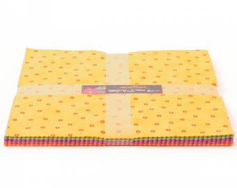 """Laurel Burch Tropical Dream Layer Cake with Metallic Accents 42 10"""" squares TSQ0159 cotton precut quilting fabric material yellow"""