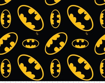 DC Comics Batman Logo Flannel from Camelot Fabrics, Cotton, rag quilt, black and yellow, bat sign, by the, metre, yard, dark knight