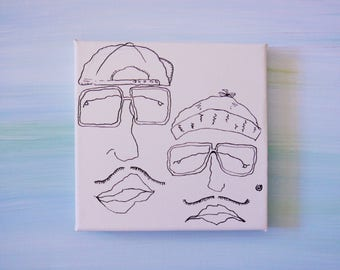 Hipster With Moustaches, Hats, Glasses and Earring In Ink On Mini Canvas
