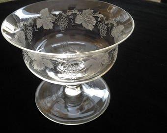 Vintage STUART CRYSTAL Etched Grape & Vine Dessert Glass/Bowl