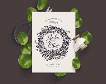 Wild Flower Wedding Invitation. PRINTABLE