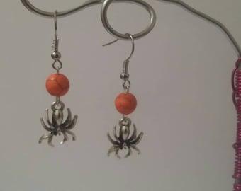 Earrings spider halloween theme orange howlite beads