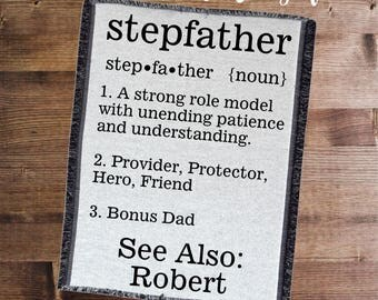 Stepfather Blanket Personalized, Gift for Stepdad, Stepfather Definition, Stepdad Blanket, Father's Day Gift, Stepfather Throw