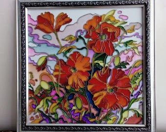 Stained glass panel Custom stained glass panel poppies Wall stained glass panel Red poppies Painting glass panel Wall glass picture