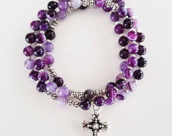 Purple Striped Agate Stretch Rosary Bracelet