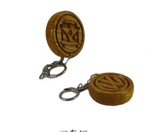 VW Campervan Wooden Keyring Double-Sided