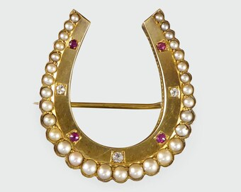 Late Victorian Diamond, Ruby and Pearl Horseshoe Brooch in 15ct Gold BR61