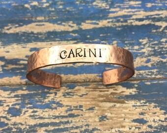 Carini hammered copper cuff bracelet // Phish song lyrics jewelry// Carini // Hammered cooper cuff