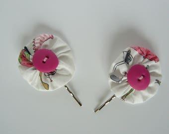 Yoyo child white printed hair clip, Fimo rose button