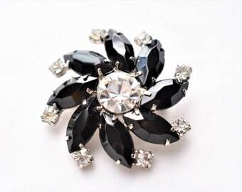 "Vintage Mid Century Rhinestone Flower Brooch Black White 1.75"" Floral Coat Sweater Pin Retro Costume Estate Jewelry"