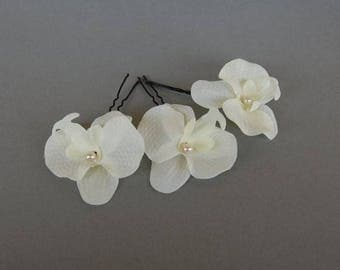 Orchid bridal hair stick