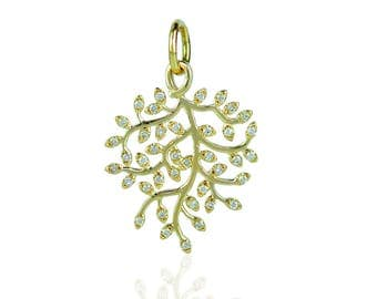 14K Yellow gold diamond Leaf branch