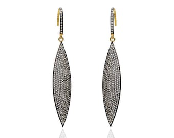 SDE1890 - Silver marquee shape pave diamond earrings – Two tone