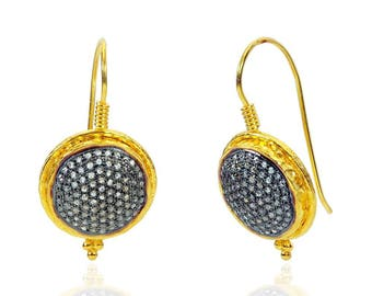 SDE1623 - Silver pave diamond earrings