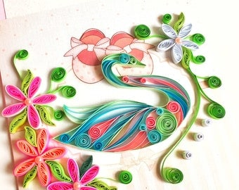 Beautiful Quilling Swan,Card for the little princess,Paper Quilling Art, Birthday gift,baby girl invitation 3d,3d baby shower invitation