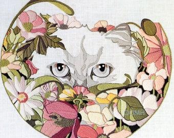 FANCY CAT Crewel Embroidery Kit Wool Yarns Linen Fabric 16 x 16 Julie Shearer