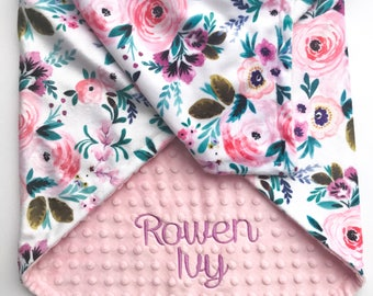 Personalized Baby Blanket - Monogrammed Baby Blanket - Minky Baby Blanket - Baby Blanket with Name - Floral Baby Blanket - Receiving Blanket