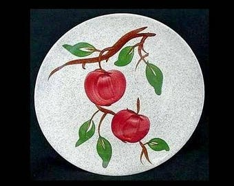 "Blue Ridge Plate GRAY APPLE 9.25"" Lunch Vintage Southern Potteries Skyline Shape Dinnerware Red Fruit (B28) 7681"