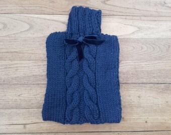 Warmer water bottle in Navy Blue knit