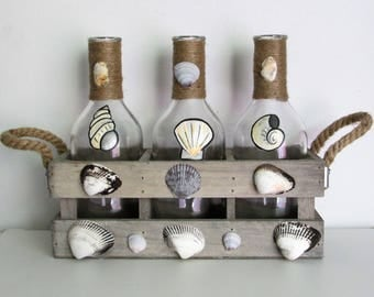 Hand-Painted Sea Shell Themed Decorative Bottles in a wooden crate, featuring Twine and hand-picked Sea Shells, set of 3