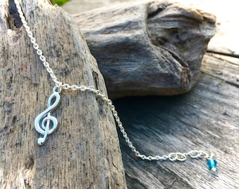 Treble clef silver plated bracelet, gift for music lovers, music jewellery, musician gift, musical symbol charm, music student present