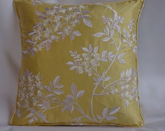 Silk cushion cover with embroidered design. 18ins x 18ins.