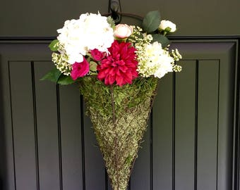 Charming Natural Moss And Wire Hanging Door Basket, Spring Summer Arrangement,  Wreath Alternative, Colorful