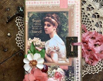 Portrait of a Lady Handmade Journal/Junk Journal/Memory Keeping/Handmade Paper Journals/SmashBook/Making a List/Women's Gift Ideas/Diary
