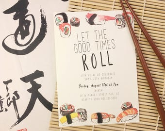 Let the Good Times Roll Sushi Birthday Invitation