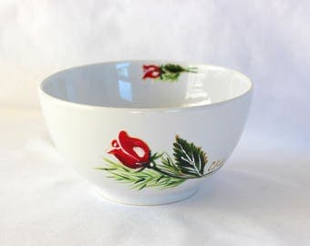 "White porcelain bowl painted with ""red Rosebud"" pattern C.Kim"