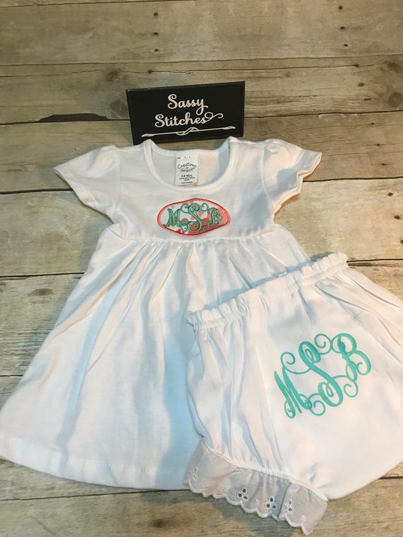 Dress and matching bloomers, infant dress, infant bloomers, baby outfit, baby clothing set, baby gift, baby girl outfit, gift set, baby