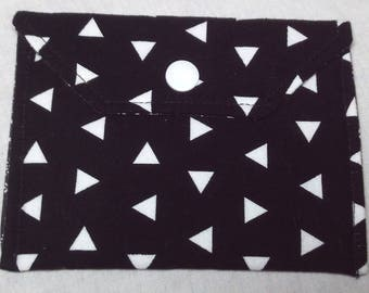 Card Holder/Money Pouch - Black and White Triangles