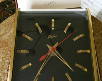"Mid-Century Modern ""Ovivo"" desk/wall clock Original box  made in Germany"