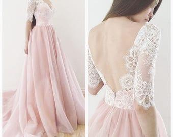 Blush wedding dress etsy wedding dress espana blush wedding dress wedding dress with sleeve junglespirit Choice Image