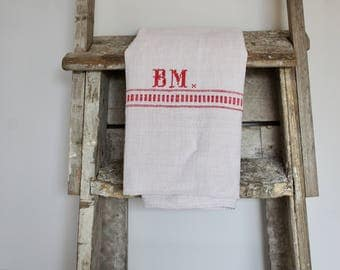 French embroidered linen cloth ( initials BM)