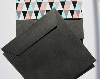 Set of 10 square envelopes black 17cm x 17cm stationery LANA