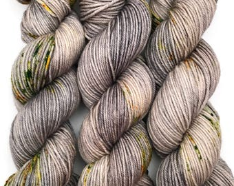 "Hand Dyed Yarn ""Lichen Me on Mossbook"" Grey Tan Green Orange Yellow Speckled Bluefaced Leicester DK Weight Superwash 245yds 100g"