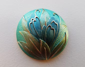 Round Brooch with Blue Iris Flowers