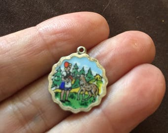 Vintage Enameled Charm Fairy Tale little Red Riding Hood