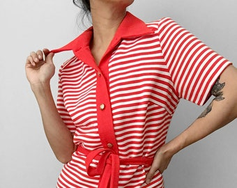 Vintage, 1970's, 70's, Red, White, Stripe, Wide-Lapel, Button-Up, Button-Down, Tied-Waist, Short-Sleeve, Shirt, Top