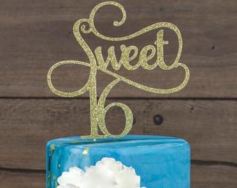 Sweet 16 Cake Topper Happy Sweet 16 Birthday Cake Topper