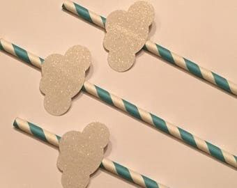 12 White Glitter Cloud Party Straws White Cloud Straws Baby Shower Straws Boy Straws Birthday Straws Baby Boy Straws Blue White