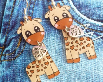 Earrings in 925 sterling silver child heart charm and crazy plastic giraffe animal zoo