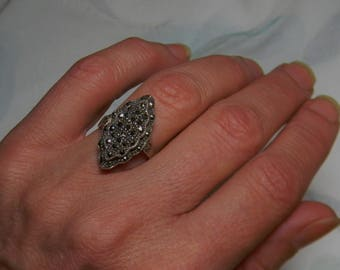 Art Deco Sterling Silver Marcasite Ring - Vintage Sterling Silver Marcasite Ring Art Deco
