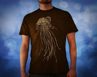 Steampunk Jellyfish dark brown t shirt for men, screen printed men's short sleeve tee shirt, Size S,  M, L, XL, XXL