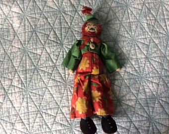 Antique Jointed Cloth Doll Clown, Embroidered Face, Bright Detailed Clothing, Exc. Cond.!