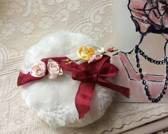Beautiful New Cotton Powder Puff with Antique and Vintage Ribbon Work Handle