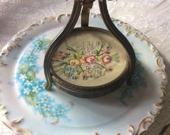 Rare Antique Trinket Dish Brass Filigree, Petite Point, Brass Encased Jewel and Glass