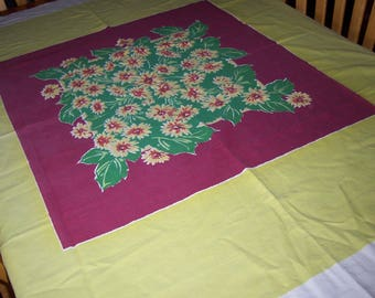 Vintage floral chartreuse startex tablecloth with cloth tag